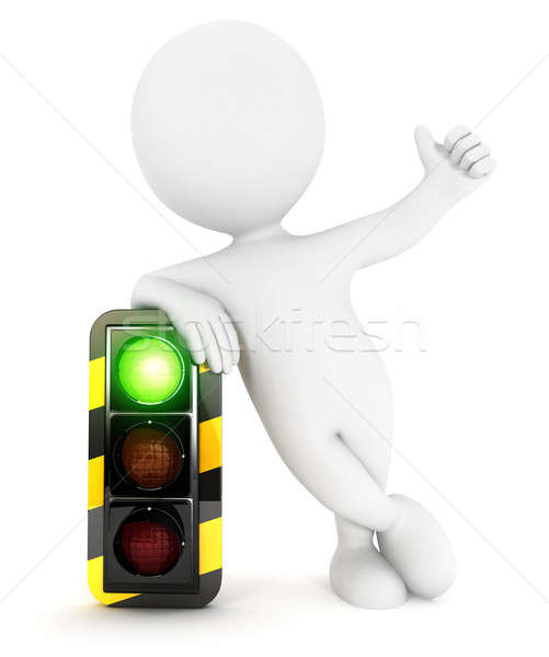 3d white people traffic light on green Stock photo © 3dmask