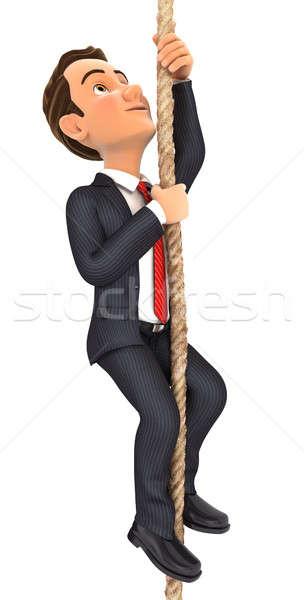 3d businessman climbing a rope Stock photo © 3dmask