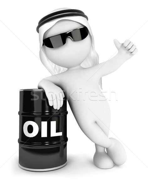 Сток-фото: 3D · белые · люди · баррель · нефть · изолированный · белый