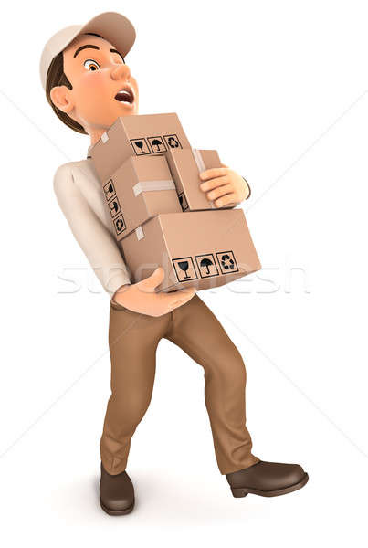 3d delivery man overworked Stock photo © 3dmask