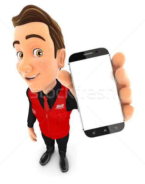 3d seller holding smartphone Stock photo © 3dmask