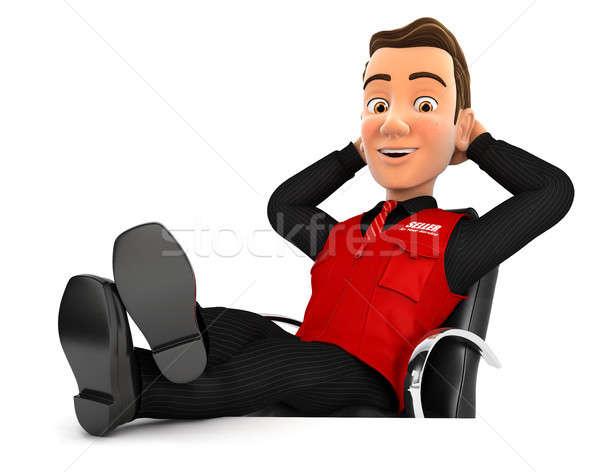 3D vendedor relaxante pé para cima secretária Foto stock © 3dmask