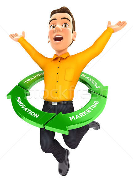 Hombre 3d saltar dentro éxito ciclo ilustración Foto stock © 3dmask