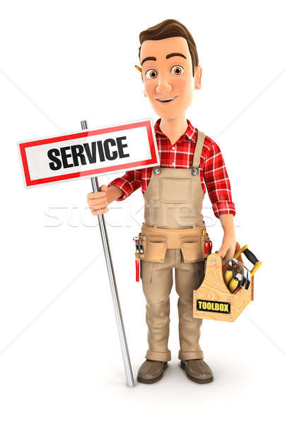 3d handyman with service sign and toolbox Stock photo © 3dmask