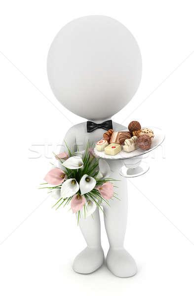 Foto stock: 3D · pessoas · brancas · casamento · flores · chocolate