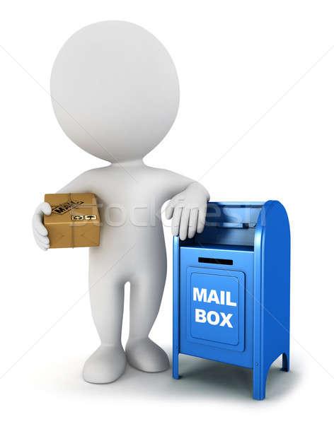 3D белые люди почты пакет почтовый ящик Сток-фото © 3dmask