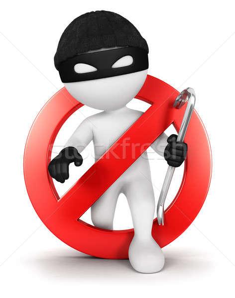3D beyaz insanlar hırsız yalıtılmış beyaz Stok fotoğraf © 3dmask