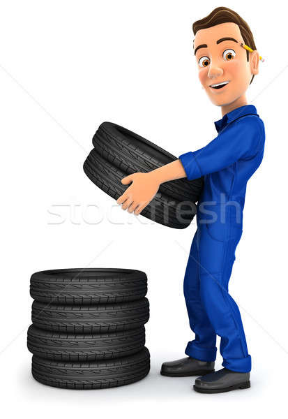 3d mechanic stacking tires Stock photo © 3dmask
