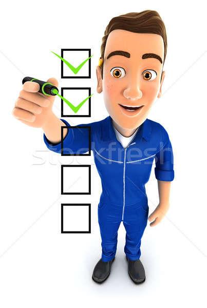 3d mechanic checklist Stock photo © 3dmask