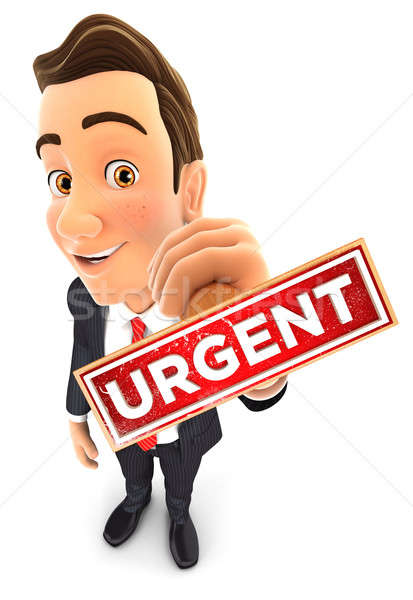 3D affaires urgent tampon isolé Photo stock © 3dmask