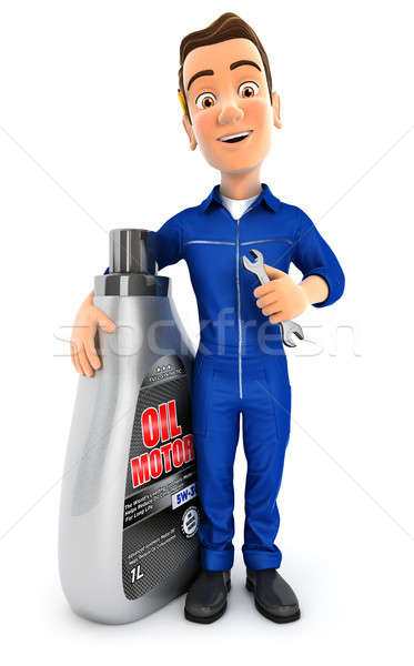 3d mechanic standing next to oil motor canister Stock photo © 3dmask
