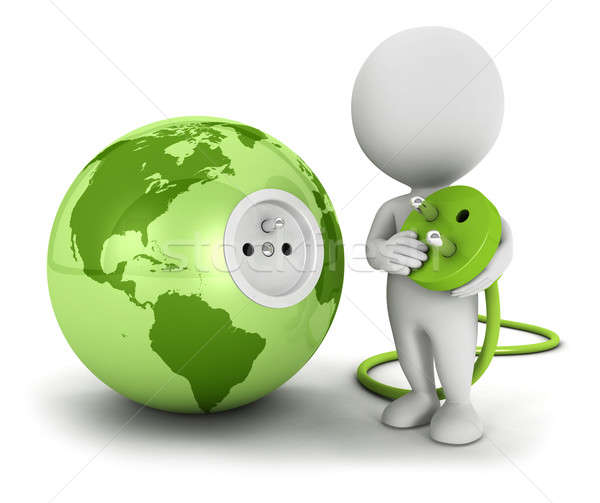 3d white people connects plug inside green earth Stock photo © 3dmask