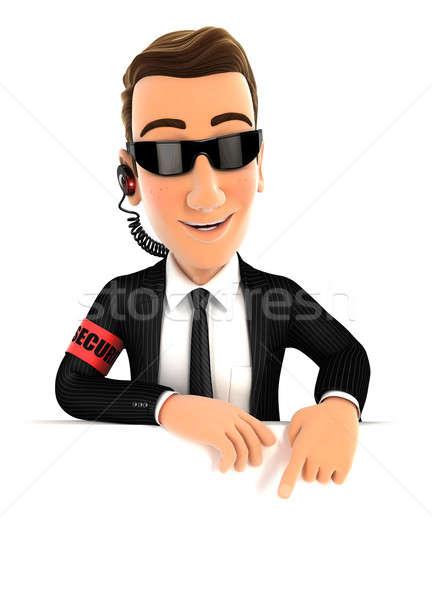 3D veiligheid agent wijzend lege muur Stockfoto © 3dmask