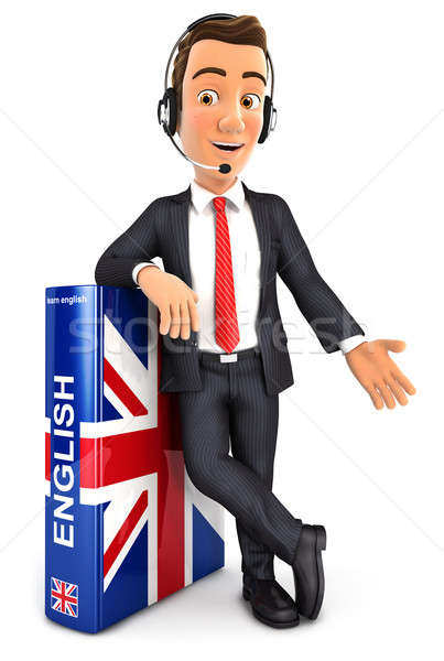 Stock photo: 3d businessman learning english
