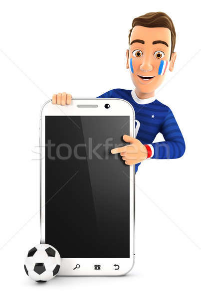 3d french soccer fan pointing to blank smartphone Stock photo © 3dmask