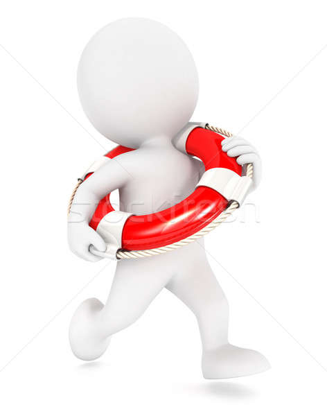 3d white people running lifeguard Stock photo © 3dmask