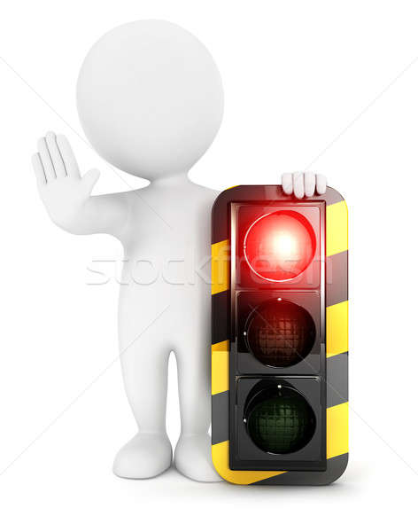 3d white people traffic light on red Stock photo © 3dmask