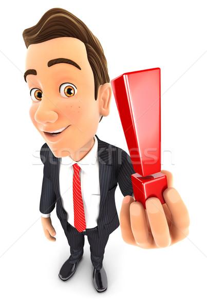 3D zakenman uitroepteken illustratie geïsoleerd Stockfoto © 3dmask