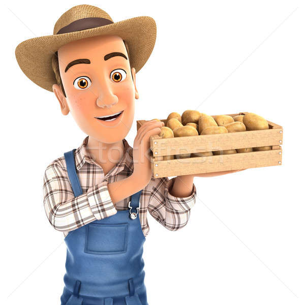 3d farmer holding crate of potatoes Stock photo © 3dmask