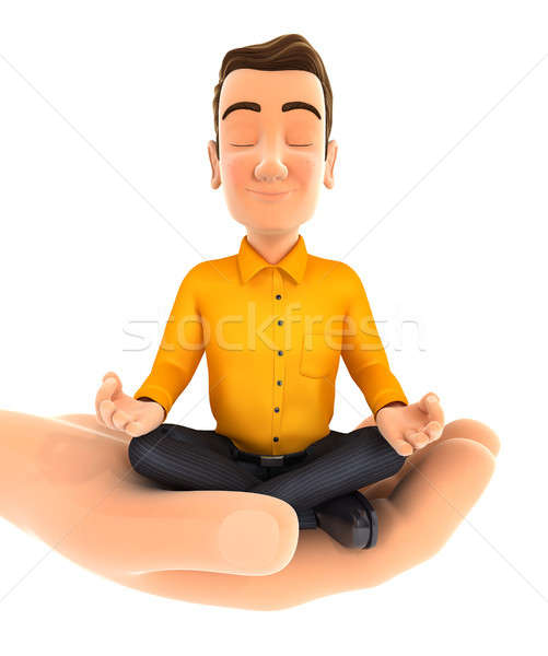 3d hand holding man doing yoga Stock photo © 3dmask