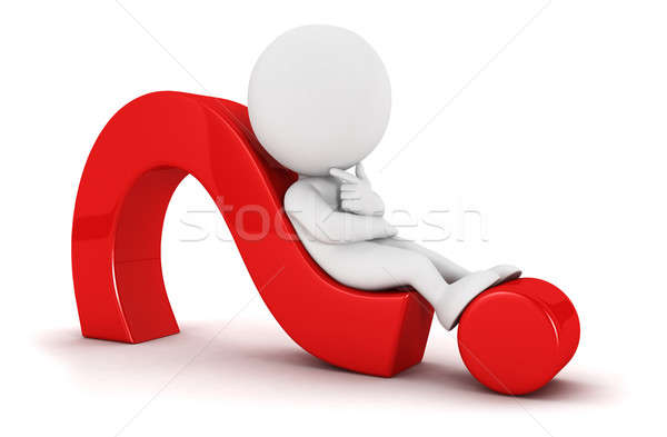 3d white people lying on a question mark Stock photo © 3dmask
