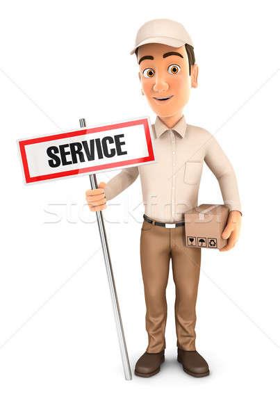 3D futár szolgáltatás felirat csomag illusztráció Stock fotó © 3dmask