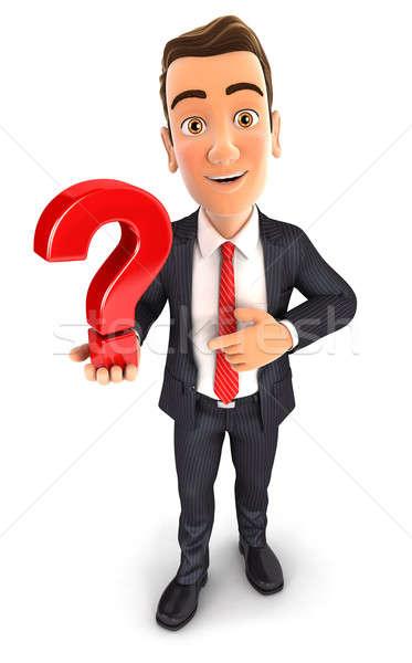 3d businessman holds a question mark Stock photo © 3dmask