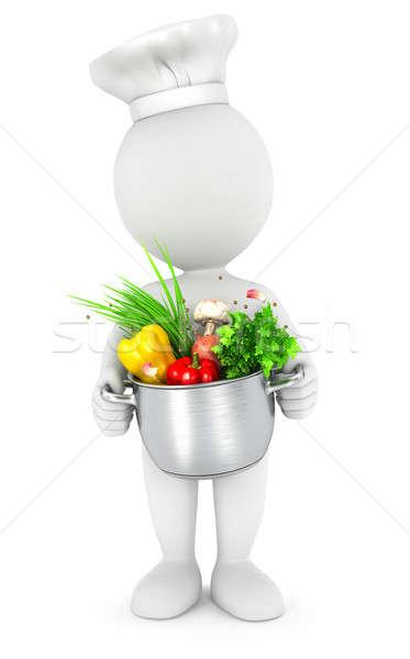 3D weiße Menschen Kochtopf isoliert weiß Bild Stock foto © 3dmask