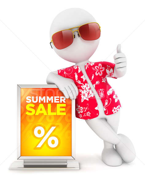 Stock photo: 3d white people summer sale