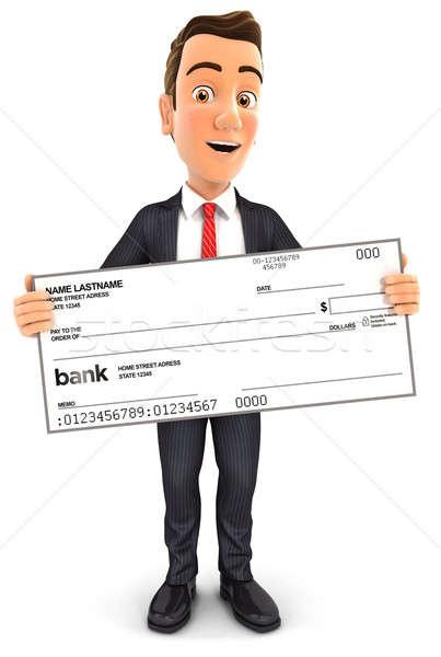 3d businessman holding big bank check Stock photo © 3dmask