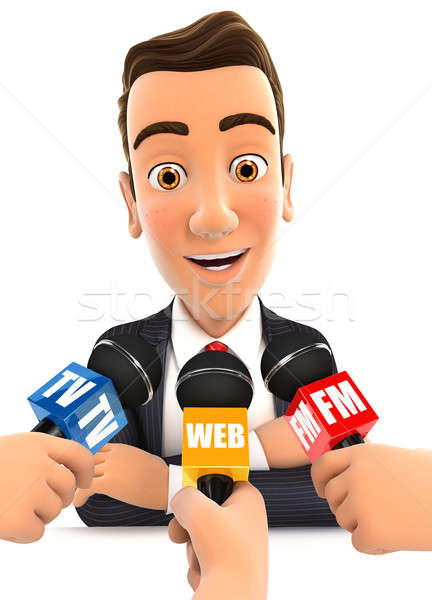 3d businessman being interviewed media Stock photo © 3dmask
