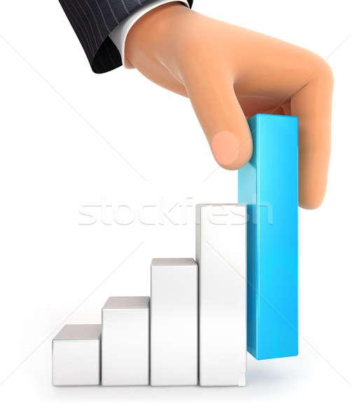 3D grande mão gráfico de barras ilustração isolado Foto stock © 3dmask