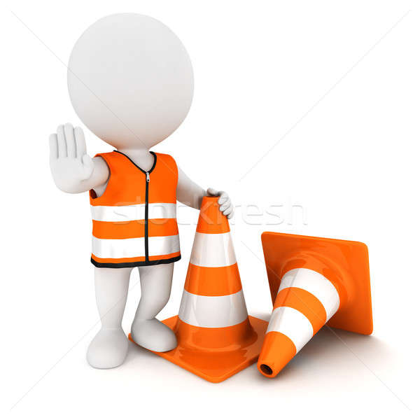 Stock photo: 3d white people stop sign with traffic cones