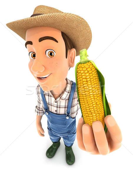 3d farmer holding corn cob Stock photo © 3dmask