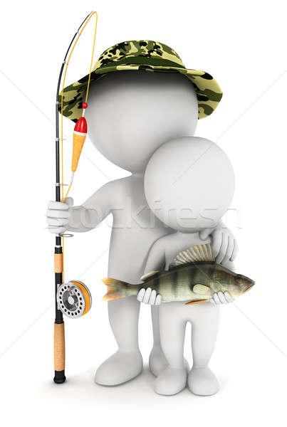 Stockfoto: 3D · witte · mensen · vissen · zoon · vis · geïsoleerd