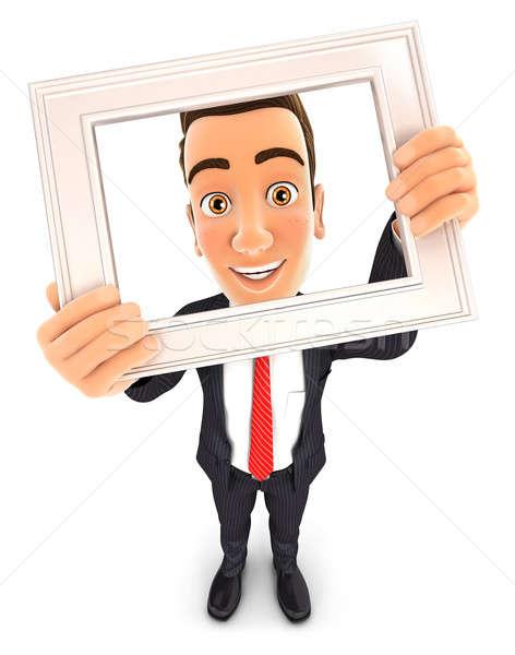 3D zakenman fotolijstje geïsoleerd witte Stockfoto © 3dmask