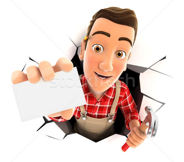 3d handyman coming out through a wall with company card Stock photo © 3dmask