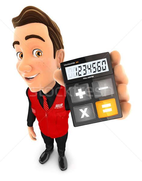 3D продавец калькулятор иллюстрация изолированный Сток-фото © 3dmask