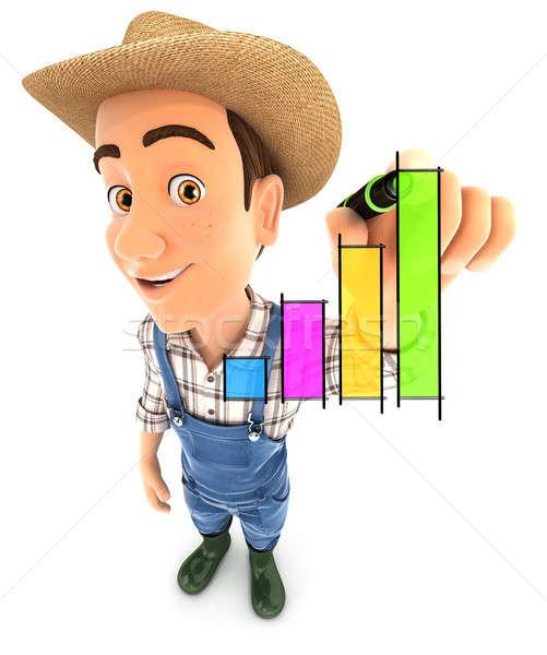 ストックフォト: 3D · 農家 · 手描き · グラフ · 実例 · 孤立した