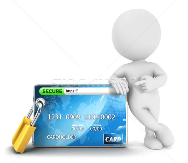 3D pessoas brancas proteger pagamento isolado branco Foto stock © 3dmask
