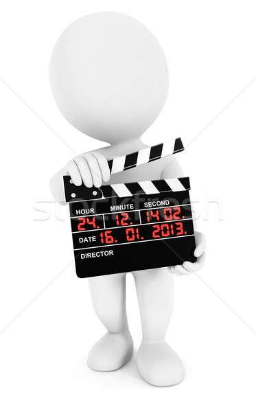 Stock fotó: 3D · fehér · emberek · film · izolált · fehér · kép