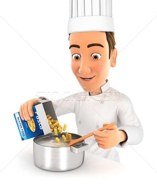 3d head chef cooking pasta Stock photo © 3dmask
