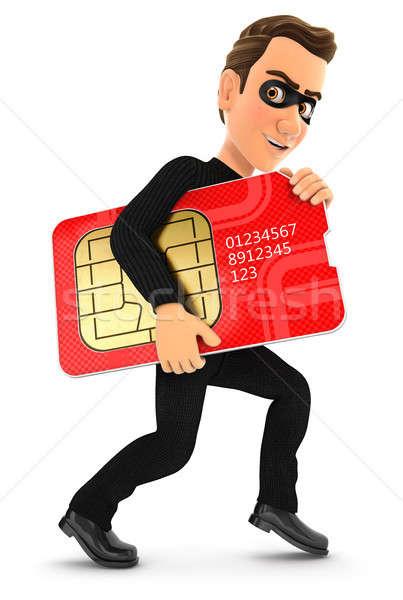 3d thief stealing a big sim card Stock photo © 3dmask