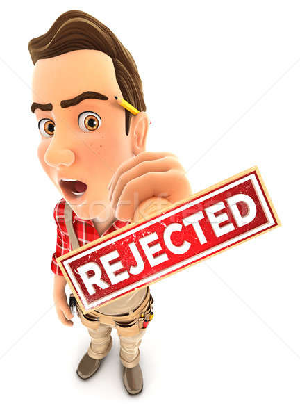 3d handyman rejected stamp Stock photo © 3dmask