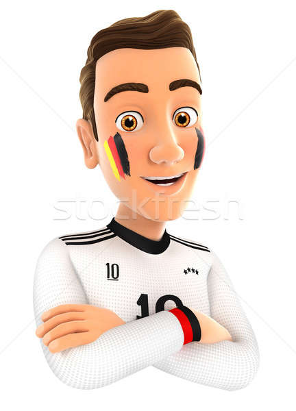 3d german soccer fan with arms crossed Stock photo © 3dmask