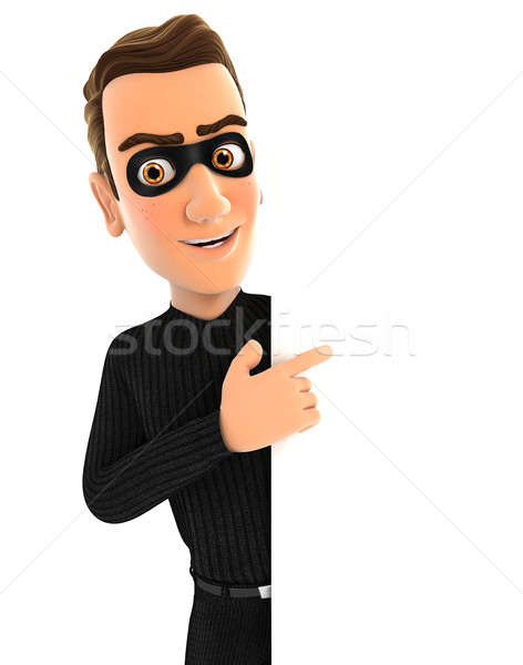 3d thief pointing to right blank wall Stock photo © 3dmask