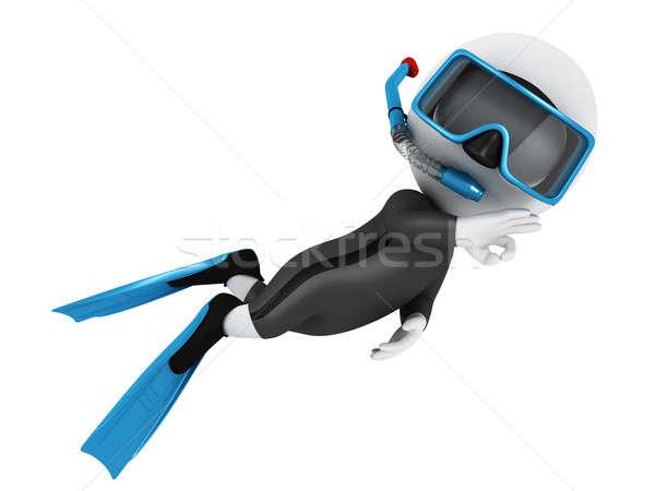 3D witte mensen onderzeeër Blauw uitrusting Stockfoto © 3dmask