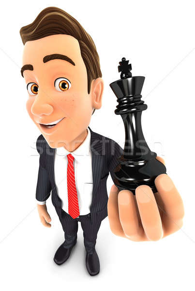 3d businessman holding a chess king Stock photo © 3dmask