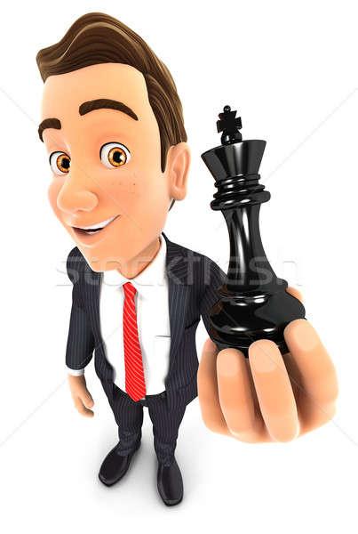 3D empresario rey del ajedrez aislado blanco Foto stock © 3dmask