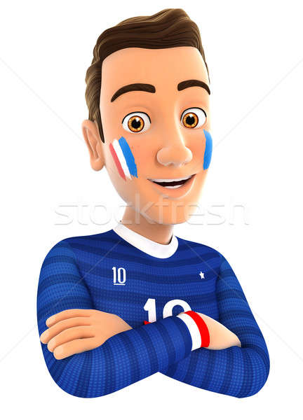 3d french soccer fan with arms crossed Stock photo © 3dmask
